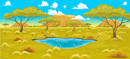 savannah: African landscape. Vector natural illustration