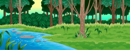 Green forest. Vector cartoon illustration