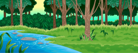 pond water: Green forest. Vector cartoon illustration