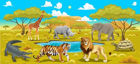 tigre caricatura: Paisaje africano con animales. Vectores