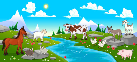 donkey  ass: Mountain landscape with river and animals. Cartoon and vector illustration