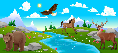 Mountain landscape with river and animals. Cartoon and vector illustration