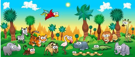 animales del bosque: Bosque verde con animales salvajes divertidos. Ilustración vectorial de dibujos animados.