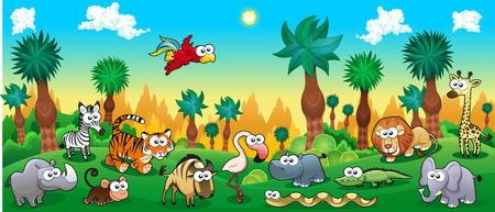 Green forest with funny wild animals. Vector cartoon illustration. Ilustração