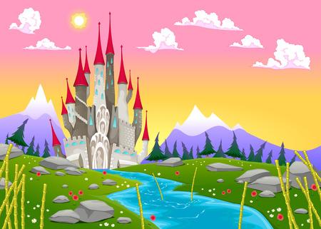 Fantasy mountain landscape with medieval castle. Vector cartoon illustration