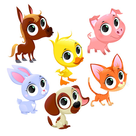 Funny farm animals and pets. Vector cartoon isolated characters.