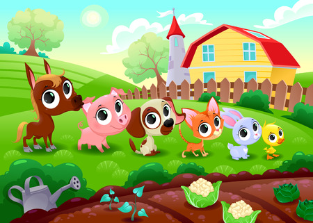 fields: Funny farm animals in the garden. Vector cartoon illustration.
