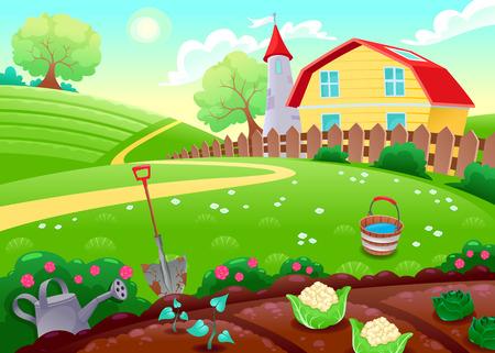 granja caricatura: Paisaje rural divertida con huerto. Ilustración vectorial de dibujos animados Vectores
