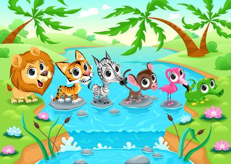 funny animal: Animales divertidos en la selva. Ilustraci�n vectorial de dibujos animados.