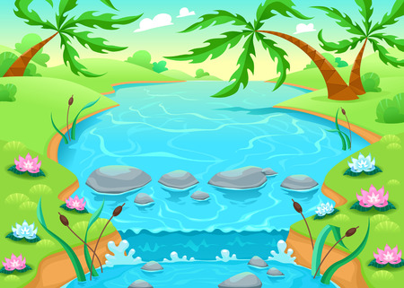 pond water: Funny scene in the jungle. Vector cartoon illustration.
