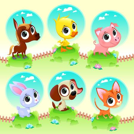 cartoon dog: Cute farm animals. Vector cartoon illustration Illustration