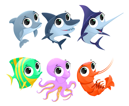 polyp: Funny marine animals. Vector cartoon isolated characters.
