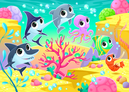 polyp: Funny marine animals under the sea. Cartoon vector illustration