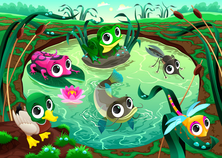 Funny animals in the pond. Cartoon vector illustrations. Vector