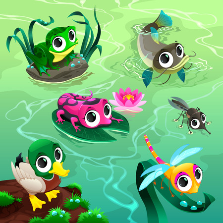 lily pad: Funny animals in the pond. Cartoon vector illustrations. Illustration