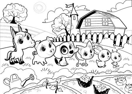 funny farm: Funny farm animals in the garden. Vector cartoon illustration in black and white.