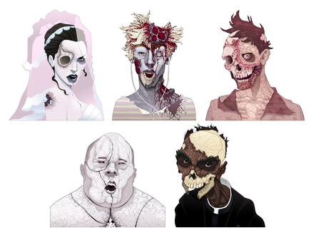 ugly man: Zombie portraits. Horror and vector isolated characters.