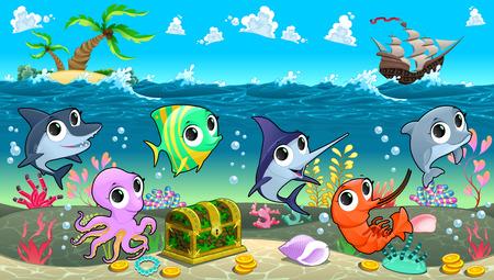 Vector animals: Động vật biển hài hước trên biển với thuyền buồm. Vector phim hoạt hình minh họa