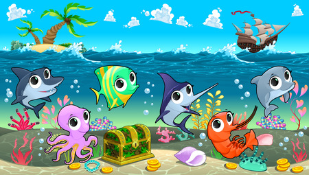 isle: Funny marine animals in the sea with galleon. Vector cartoon illustration