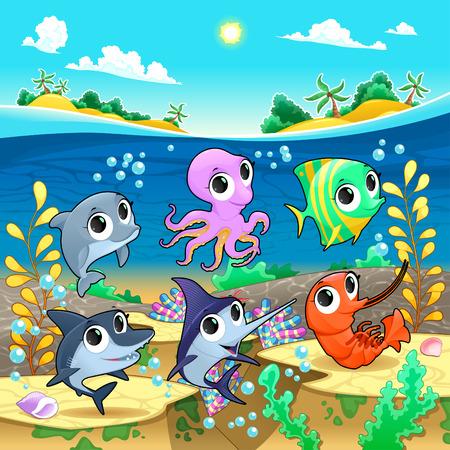 polyp: Funny marine animals in the sea. Vector cartoon illustration