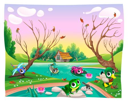 cartoon  birds: Animales divertidos en el estanque. Ilustraciones de vectores de dibujos animados.