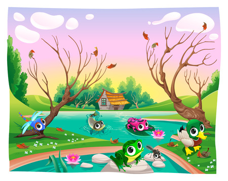 happy family nature: Funny animals in the pond. Cartoon vector illustrations. Illustration