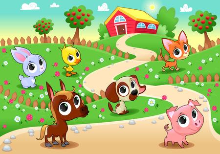 vector cartoon: Funny farm animals in the garden. Vector cartoon illustration.