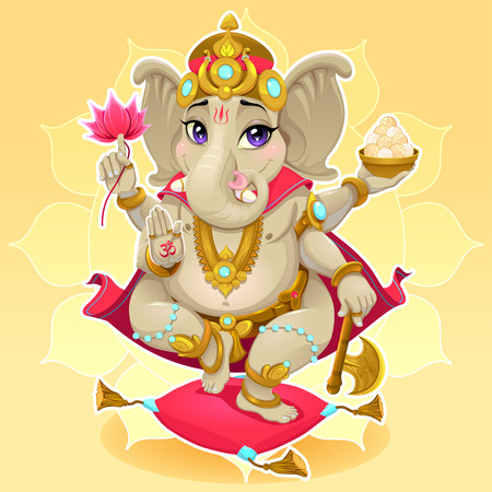 god ganesh: Ganesh. Funny representation of eastern god, vector cartoon illustration.