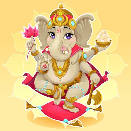 Ganesh. Representación divertida de dios oriental, ilustración de dibujos animados de vectores.