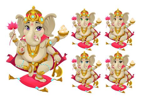 ganesh: Representación divertida de dios oriental en 5 colores diferentes, personajes de dibujos animados de vectores aislados. Vectores