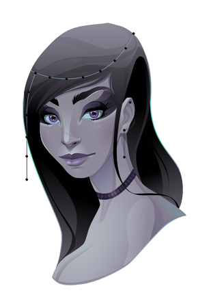 fantasy makeup: Portrait of a lady. Vector isolated element.