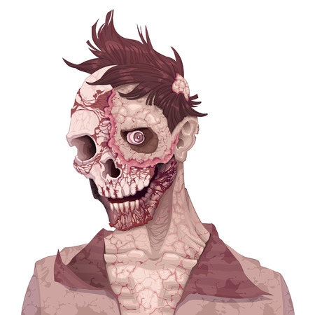 Zombie portrait. Horror and vector illustration, isolated character