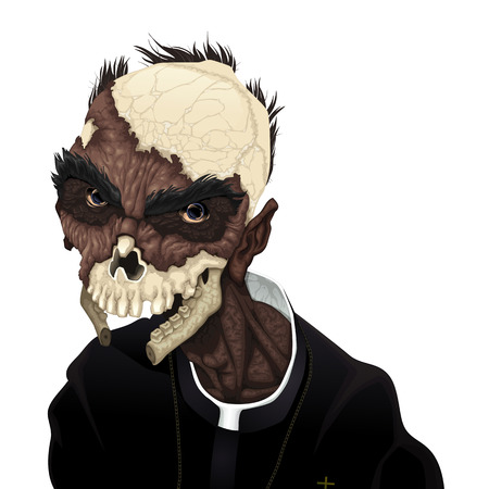 Zombie portrait. Horror and vector illustration, isolated character. Illustration