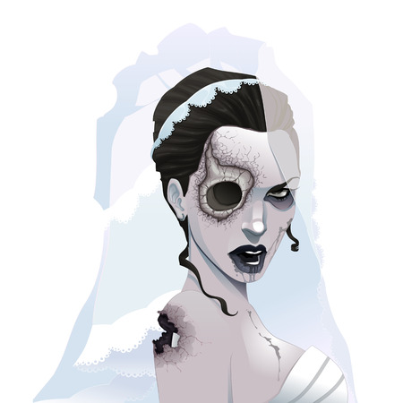 cadaver: Zombie portrait. Horror and vector illustration, isolated character