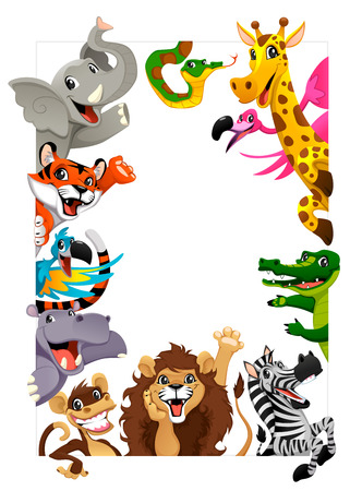 Funny group of Jungle animals. Cartoon vector illustration iwith frame in A4 size, for birthdays and events.