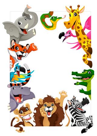 serpiente caricatura: Grupo divertido de los animales de la selva. Ilustración vectorial de dibujos animados iwith marco en tamaño A4, para los cumpleaños y eventos. Vectores