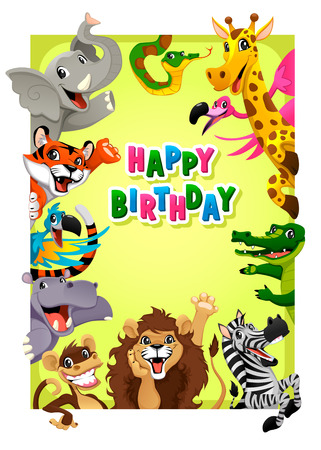 Happy Birthday card with Jungle animals. Cartoon vector illustration with frame in A4 proportions. Stock Illustratie