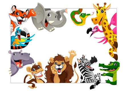 Grupo divertido de los animales de la selva. Ilustración vectorial de dibujos animados con marco de tamaño A4, para los cumpleaños y eventos.