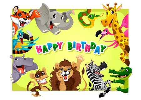 Scheda di buon compleanno con gli animali della giungla. Cartoon illustrazione vettoriale con telaio in proporzioni A4. Archivio Fotografico - 37038687