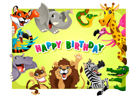 hipopotamo dibujos animados: Tarjeta del feliz cumpleaños con los animales de la selva. Ilustración vectorial de dibujos animados con marco en proporciones A4.