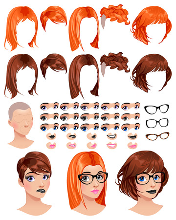 previews: Fashion female avatars. 5 hairstyles in 2 colors, 5 eyes in 3 colors, 5 mouths in 2 colors, 3 glasses, 1 head, for multiple combinations. Some previews on the bottom. Vector file, isolated objects. Illustration