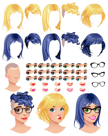 female girl: Fashion female avatars. 5 hairstyles in 2 colors, 5 eyes in 3 colors, 5 mouths in 2 colors, 3 glasses, 1 head, for multiple combinations. Some previews on the bottom. Vector file, isolated objects. Illustration