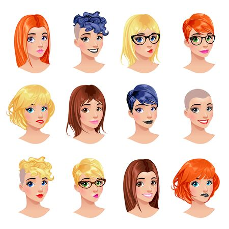 top model: Fashion female avatars. hairstyles, eyes and mouths are interchangeable. Vector file, isolated objects. Illustration