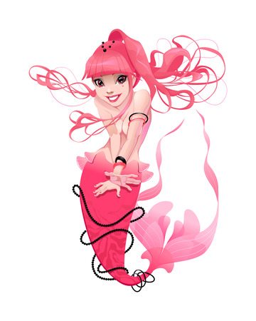 mythological character: Young mermaid in pink. Funny cartoon and vector mythological character. Illustration
