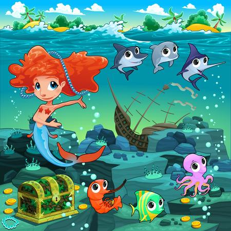 isla del tesoro: Sirena con animales divertidos en el fondo del mar. Ilustración vectorial de dibujos animados.