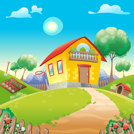 House with garden int the countryside. Vector cartoon illustration