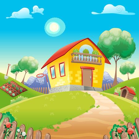 paisaje rural: Casa con jard�n int el campo. Ilustraci�n vectorial de dibujos animados