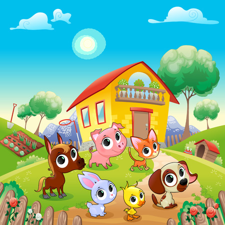 Funny farm animals in the garden. Cartoon vector illustration