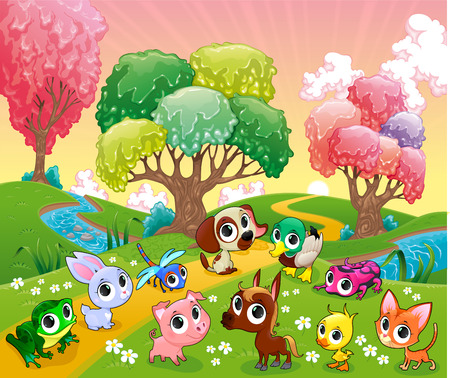 birds scenery: Funny animals in the magic wood. Cartoon vector illustration.