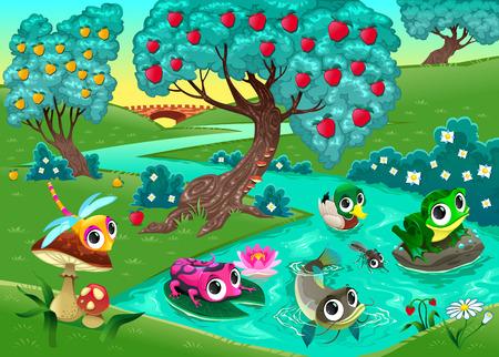 albero da frutto: Animali divertenti su un fiume nel bosco. Cartoon illustrazione vettoriale.